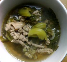 青菜とひき肉のエスニック・スープ