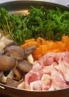 豚しゃぶと豆苗と大根と人参のひらひら鍋