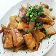 豚肉 厚揚げ 玉葱の生姜焼き