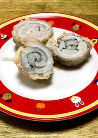 中はふんわり 太刀魚の大葉梅肉巻き天ぷら