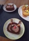 ロールケーキのトナカイケーキ