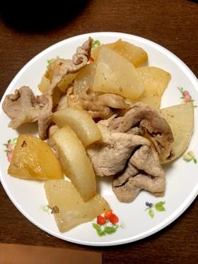 豚バラと大根のポン酢炒め