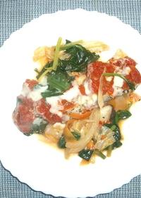 蒸し鱈と野菜のあらごしトマトソース