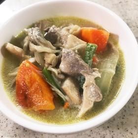 鶏もも肉のズボラ豆乳スープ