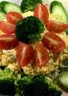卵と千切りキャベツの菜の花サラダ♫