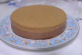 コーヒーババロアとチョコムースのケーキ