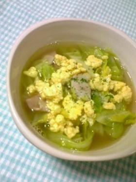 春キャベツと☆炒め卵のスープ