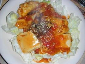 ちょっぴり和風トマトと豆腐と卵の煮込み