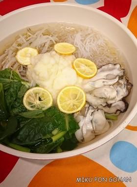 牡蠣のおろし鍋 味付けは白だし1本