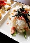 残り酢飯で鮭ちらし寿司〜焼き鮭たして♪