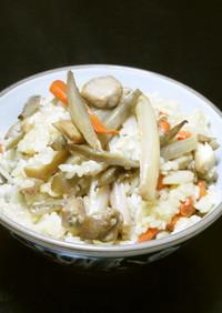 蓮根と鶏肉入りキンピラゴボウの炊きおこわ