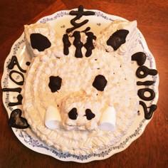 市販のスポンジで簡単干支ケーキ 亥 覚書