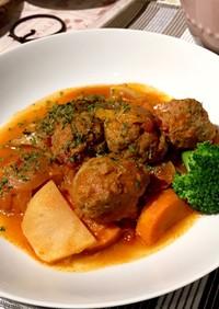 簡単☆肉団子のトマト煮込みハンバーグ風