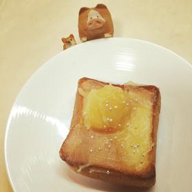 栗きんとんの残りで、トーストアート