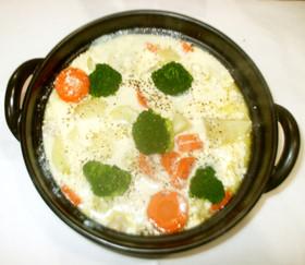 豆乳スープ♪簡単豆乳シチューをコンソメで