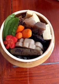 お節リメイク煮物(筑前煮)と茶飯で釜飯風
