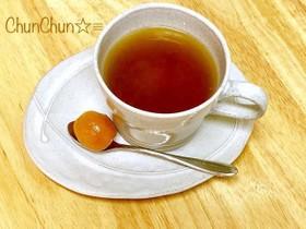 簡単☆ポカポカ温まる♬生姜入り金柑紅茶