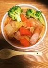 ウインナーとベーコンと白菜でスープパスタ