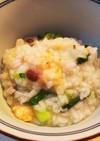 蟹缶と小豆と小松菜の七草粥