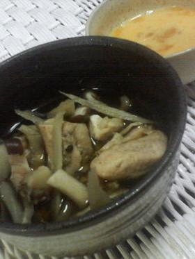 ササミ×ごぼう×茸 の すき焼き