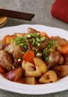 豚肉と根菜の黒酢あん炒め