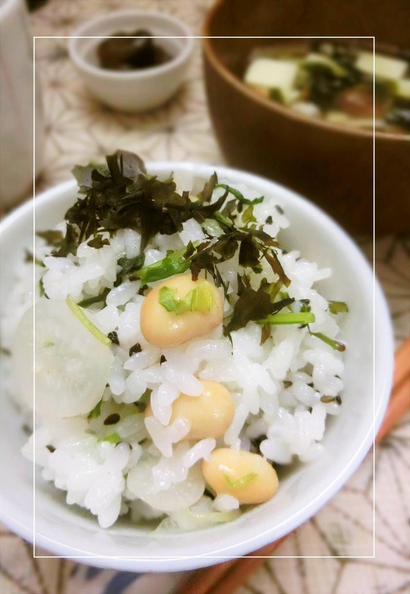 大豆入り 菜飯 ~春の七草ごはん