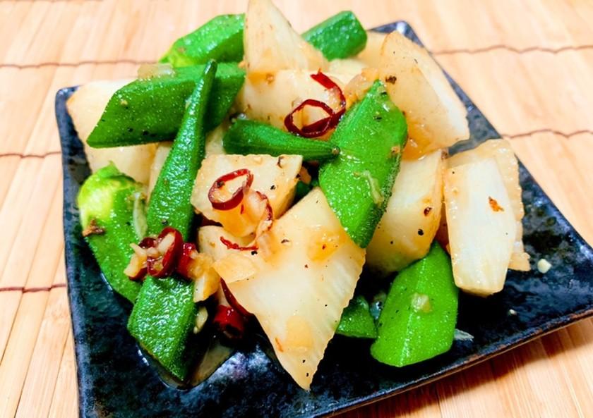 オクラと長芋のペペロンチーノ
