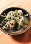 白味噌消費★もやしと水菜とつくね中華風煮