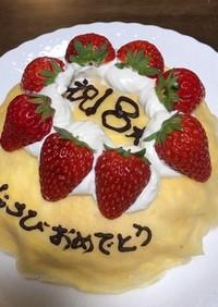 誕生日にいちごのミルクレープ