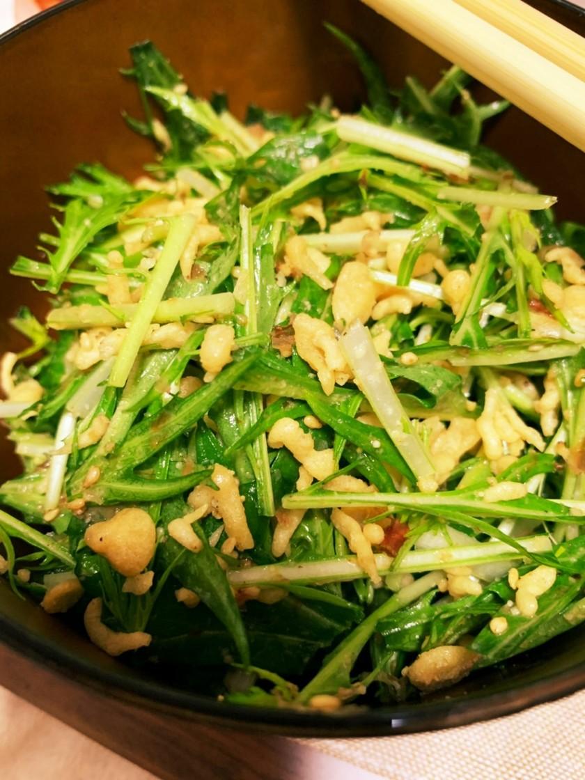 水菜と天かす(揚げ玉)の無限サラダ