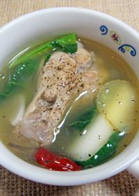 ねぎと鶏手羽元の緑茶スープ煮