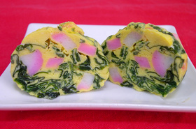 レンジde簡単★ワカメと卵の茶巾蒸し