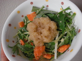 ♡ちょっとこってり♡水菜の揚げ玉サラダ♡