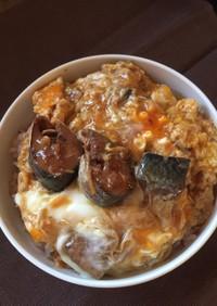 3分クッキング☆半熟卵と鯖缶の丼