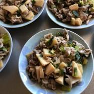 簡単、竹の子青梗菜豚こまネギ炒め。