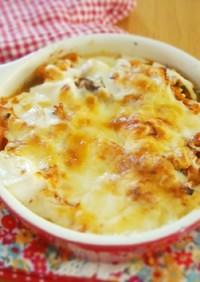 筋トレ飯♡簡単♡サバ缶キムチのチーズ焼き