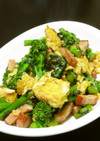 菜花とベーコンとフワフワ卵の炒めもの