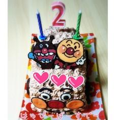 誕生日に♡アンパンマン号ケーキ♡
