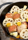 豚バラ肉とれんこんの金柑スパイシー焼き✨