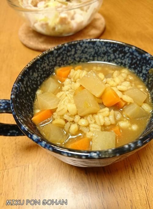 カレールー1個!もち麦野菜スープ