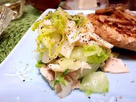 茹で白菜とサラダチキンのおかずサラダ
