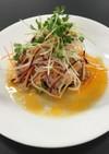 豚肉 揚げナス 長芋のサラダ 生姜ソース