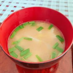 豆腐とニラとみつばのお味噌汁