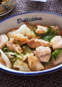 鶏肉とレタスの味噌ダレ炒め