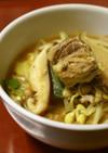 さば水煮缶と豆もやしと生椎茸でカレー雑煮