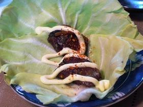 春キャベツのさんま缶巻き七味マヨ
