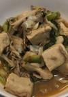 高野豆腐と舞茸の麻辣豚骨スープ
