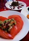 バレンタインにトマトのハートサラダ