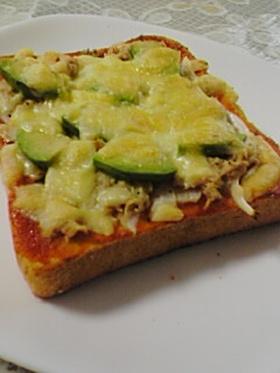 ツナとアボガドのピザトースト