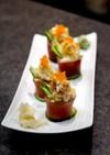 カニ肉と天かすの寿司前菜